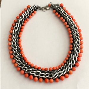 Lovely Coral & Silver Tone Statement Necklace
